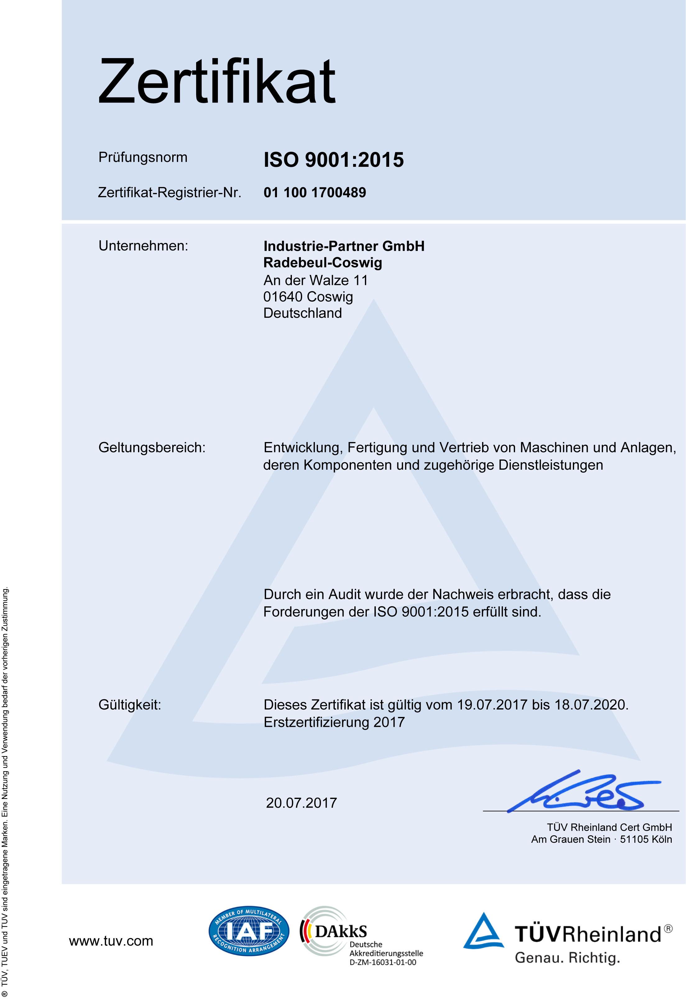 Unternehmen Zertifizierung