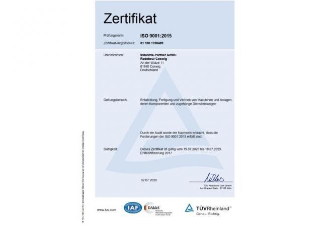 Qualitätsmanagement-Audit nach DIN EN ISO 9001:2015 erfolgreich bestanden